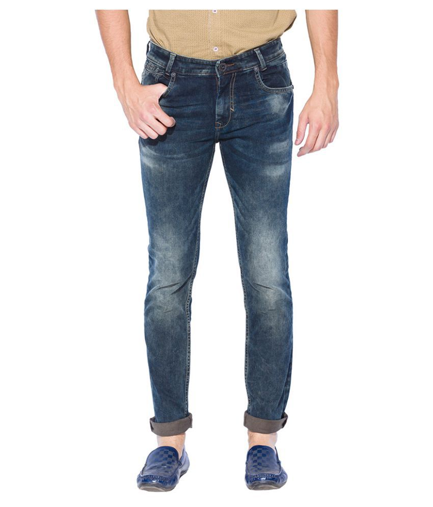 Mufti Blue Regular Fit Washed