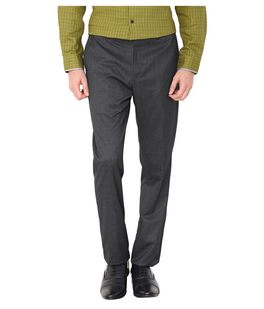 Arrow New York Grey Tapered Flat Trouser