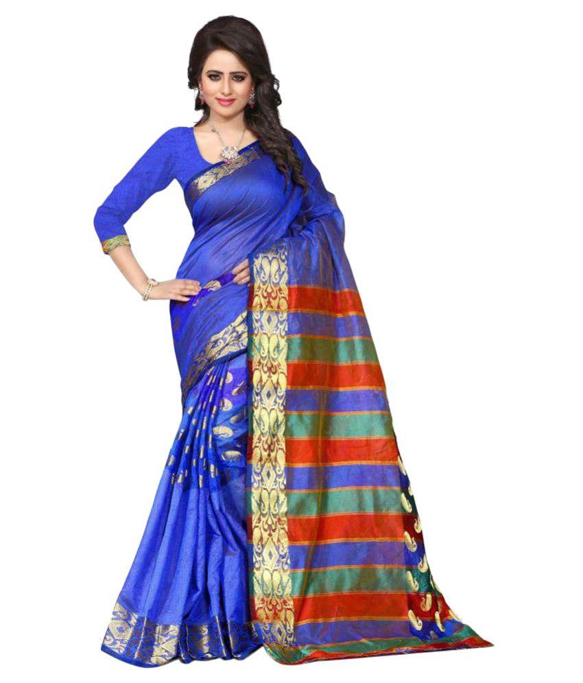 Fabdiwa Fashion Blue Kanchipuram Saree