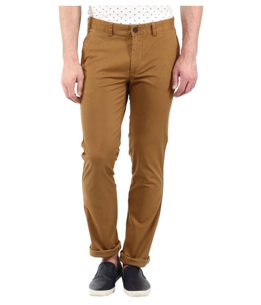London Bridge Brown Slim Flat Trouser