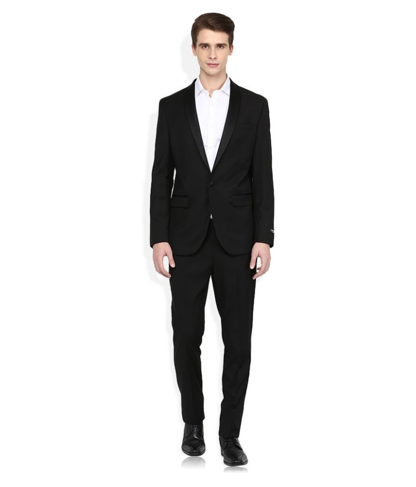 Giovani Black Solid Formal 2 Piece Suits