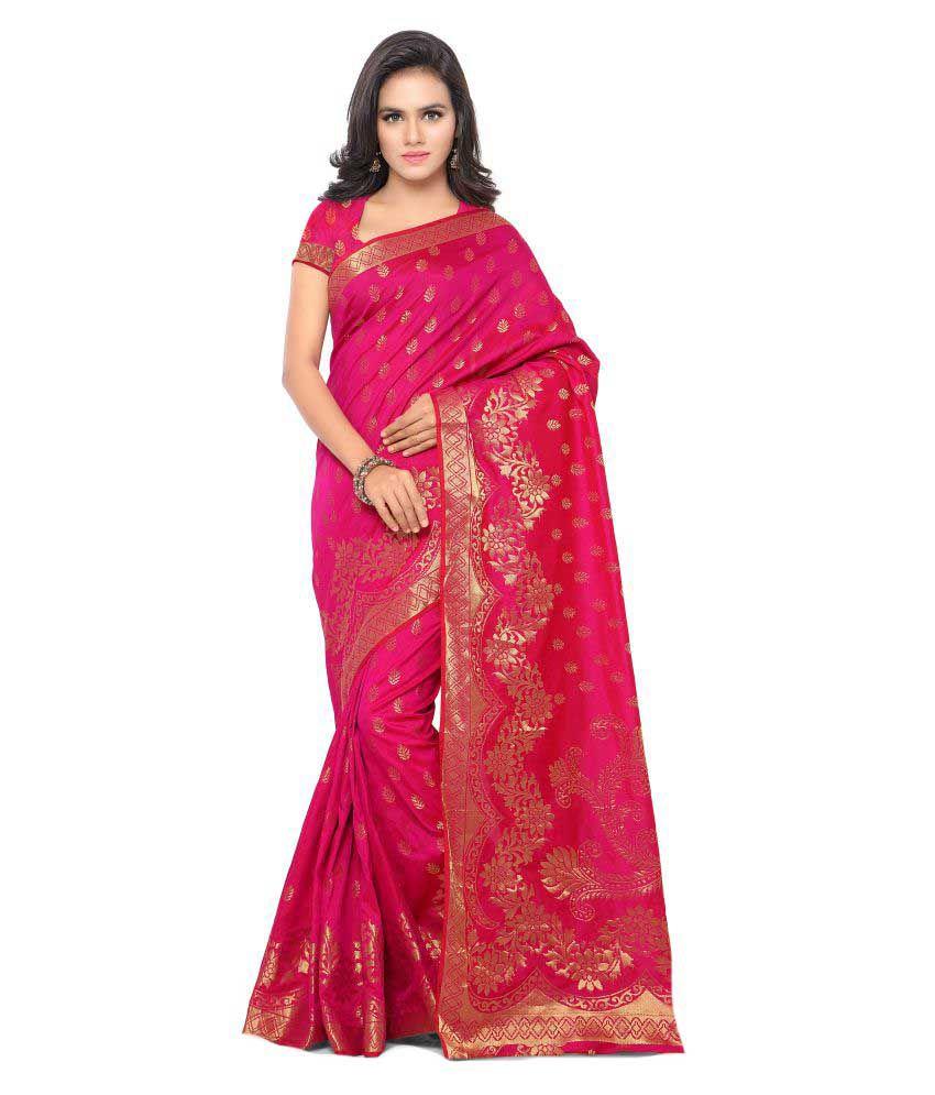 Makewayin Pink Cotton Saree