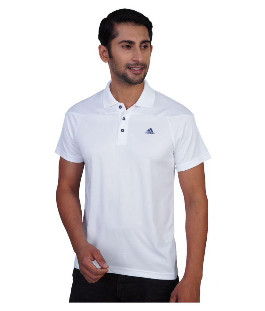 Adidas White Regular Fit Polo T Shirt