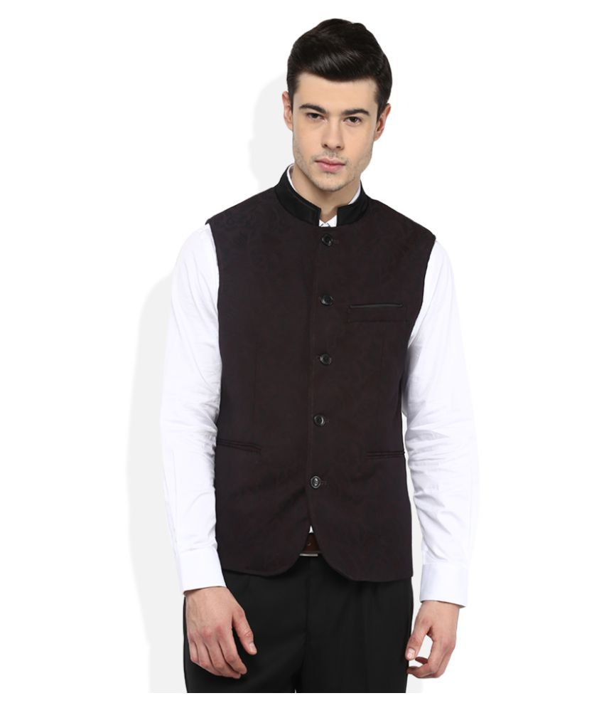 Giovani Brown Self Design Party Waistcoats
