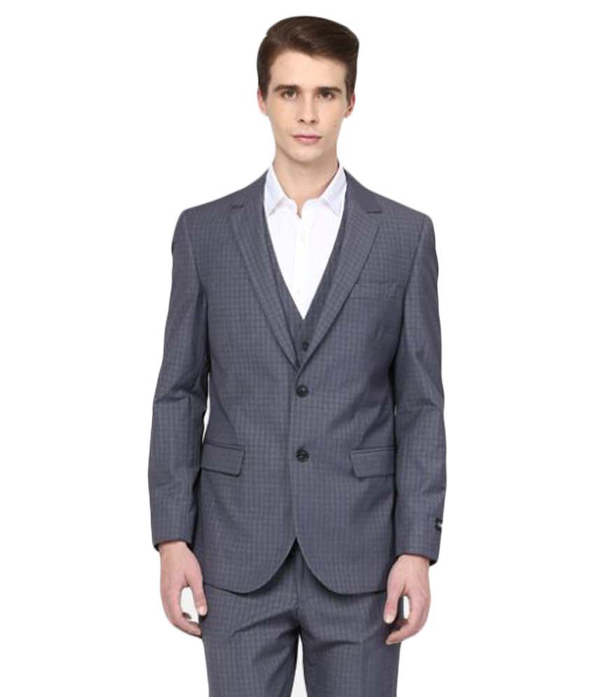 Giovani Grey Checks Formal 3 Piece Suits