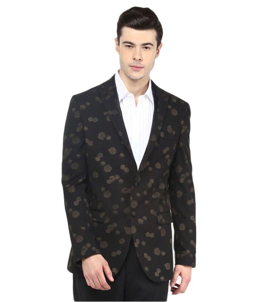 Giovani Black Printed Party Blazers