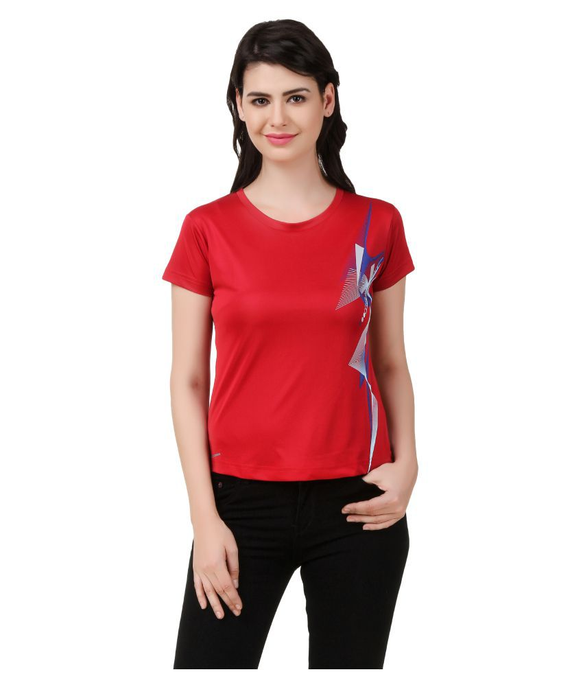 Spunk Red Polyester T-Shirt