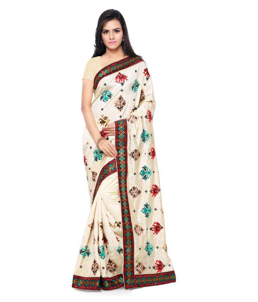 Nanda Silk Mills Off White Art Silk Saree
