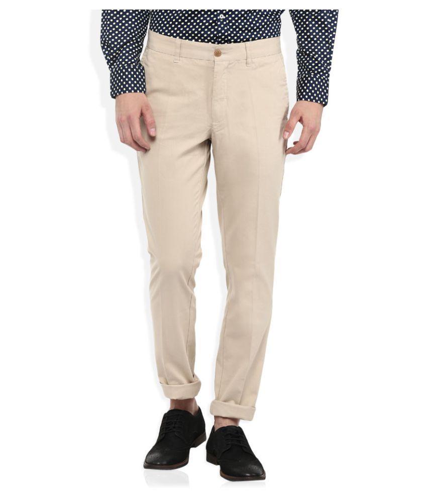 Giovani Beige Slim Flat Trouser