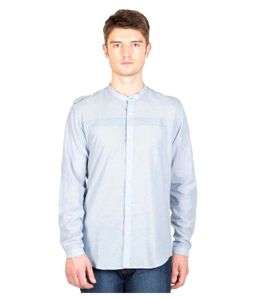 N F Clothing Blue Casuals Slim Fit Shirt