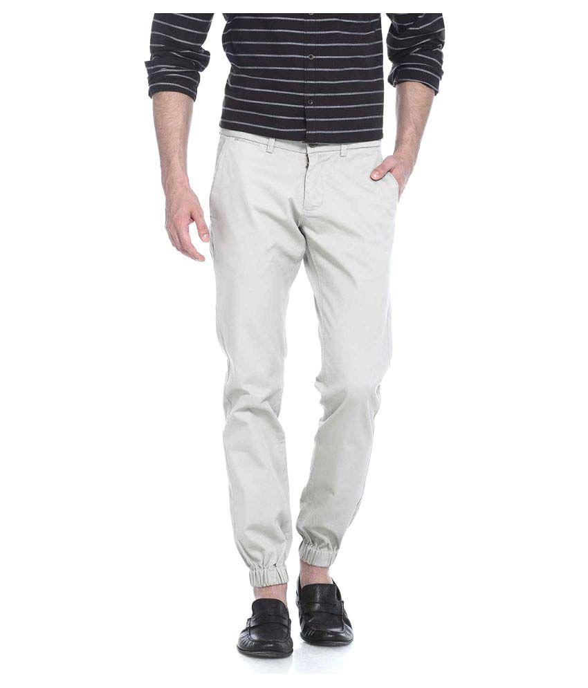 Basics White Slim Flat Trouser