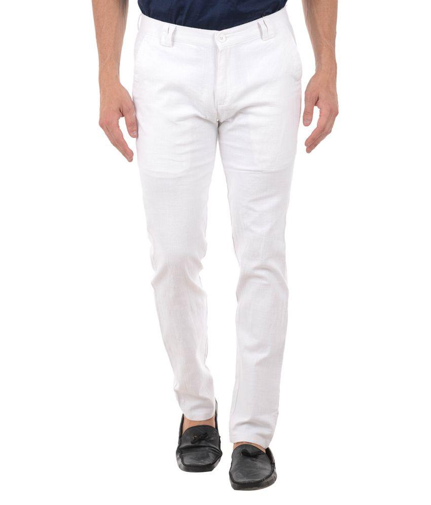 Harvest White Slim Flat Trouser