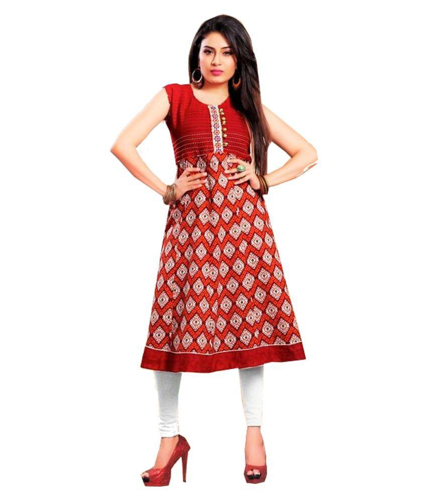 Jayanti's Red Cotton Anarkali Kurti