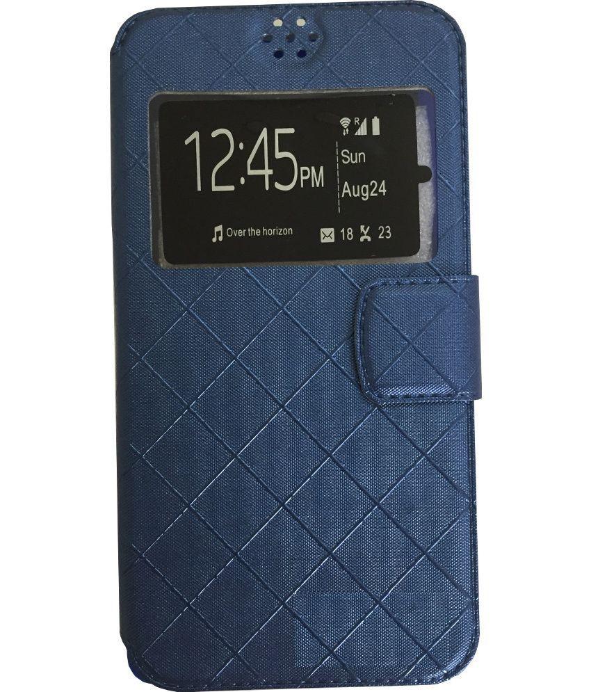 Intex Feel Flip Cover by Lomoza - Blue