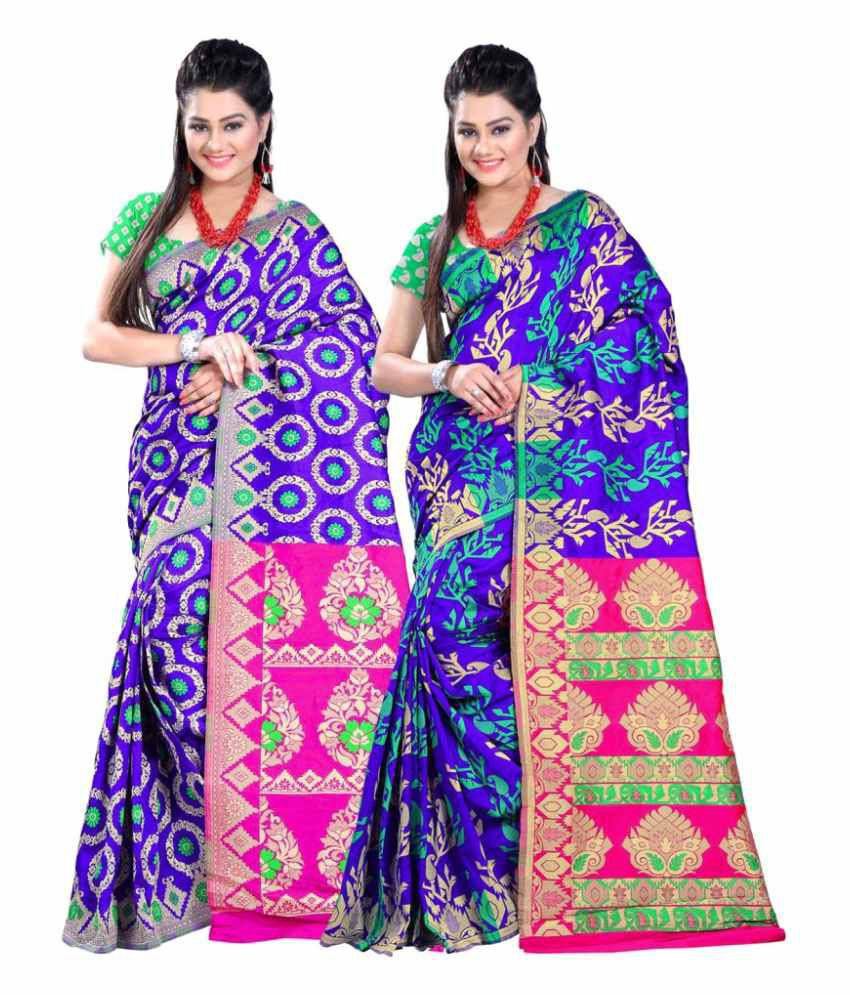Jayant Creation Blue Art Silk Saree Combos