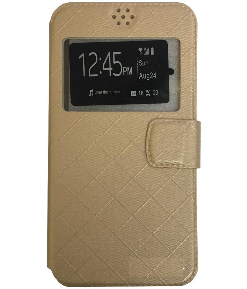 quality design 18cea 44204 Micromax Canvas Doodle 2 A240 Flip Cover by Lomoza - Golden