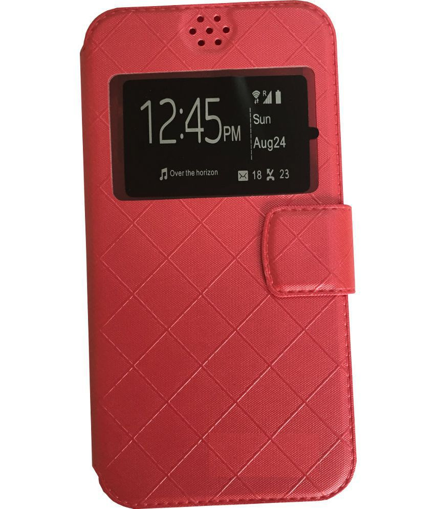 reputable site 9d443 378ad Micromax Canvas Fun A76 Flip Cover by Lomoza - Red