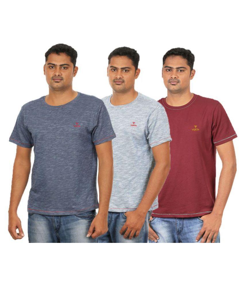 Yukth Multi Round T-Shirt Pack of 3