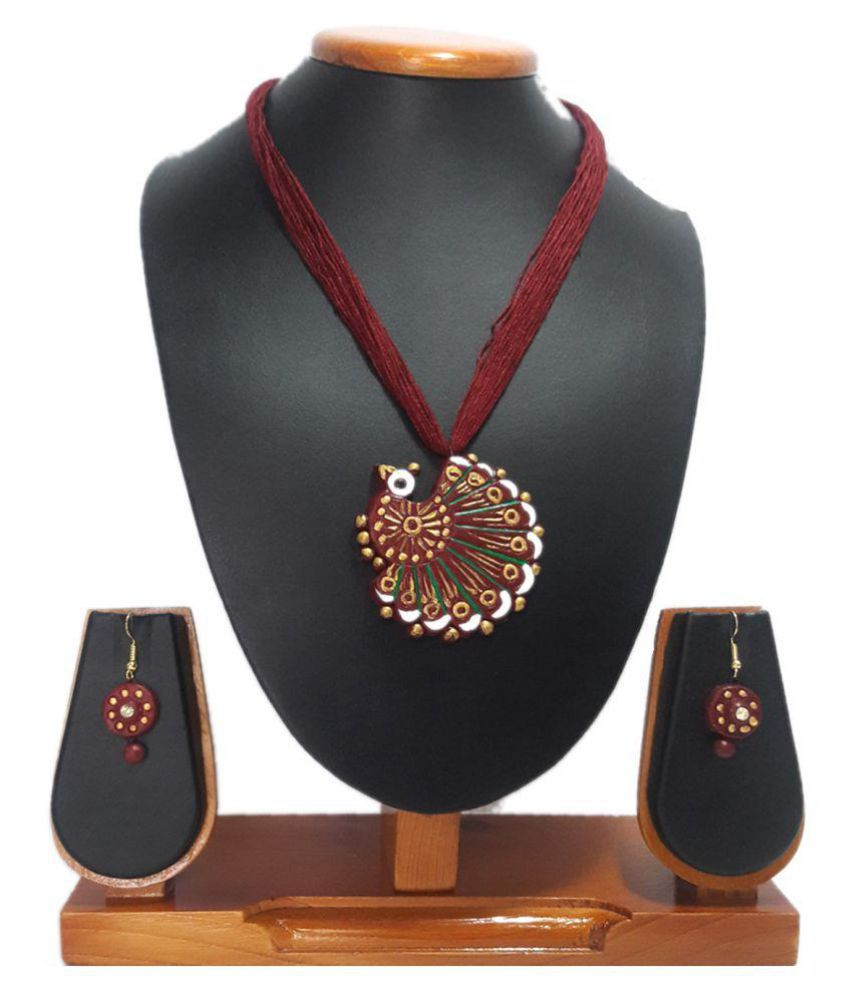 Zenx Multicolor Terracotta Necklace Set