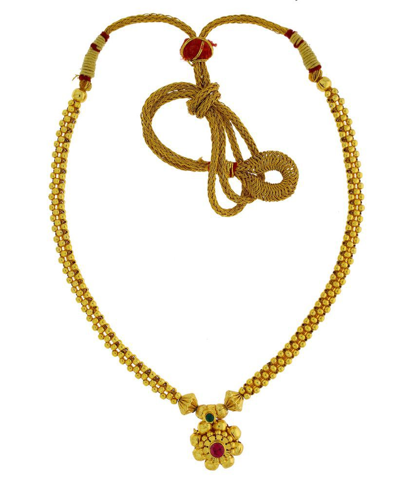 Anuradha Art Golden Finish Beautiful Designer Sparkling Stone Thushi Necklace For Women