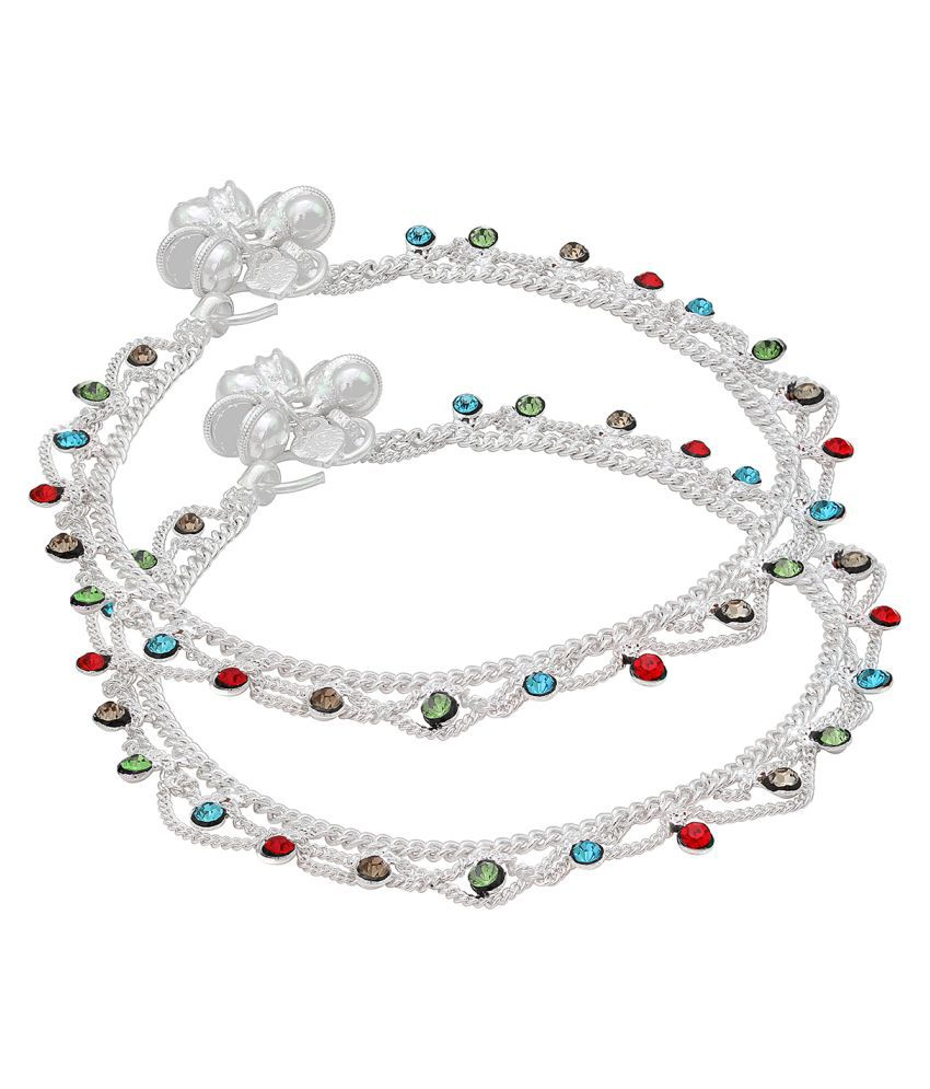 Memoir Silver plated Colorful Red, Blue, Green, Yellow CZ studded Traditional Jhalar pajeb payal Anklet for Women