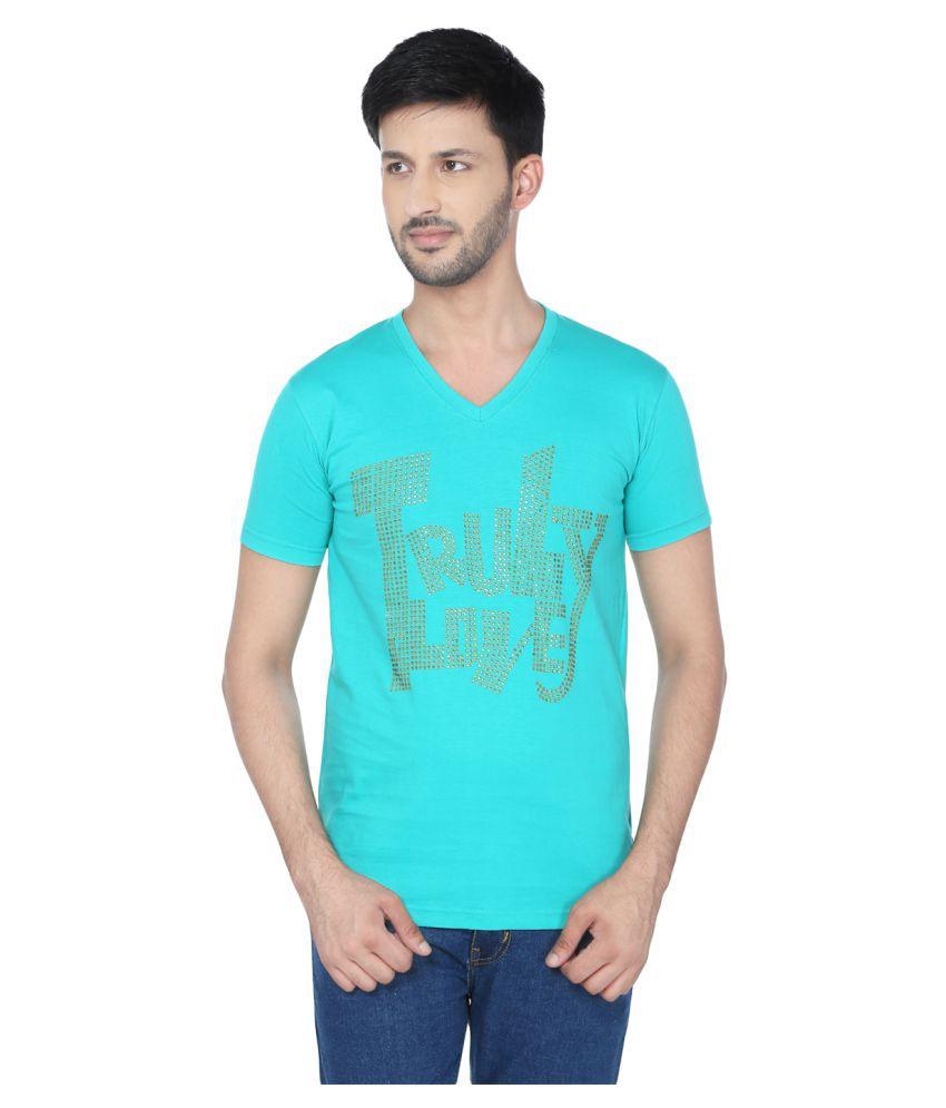 Black Unicorn Turquoise V-Neck T-Shirt