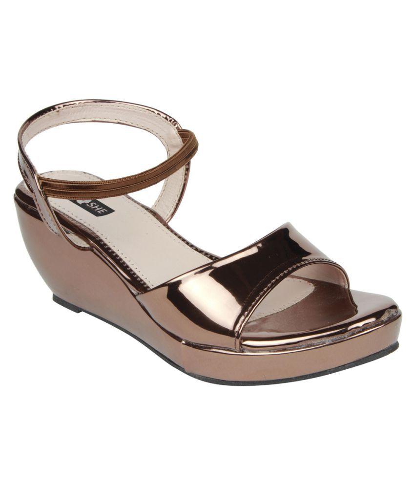 Henshe Brown Wedges Heels