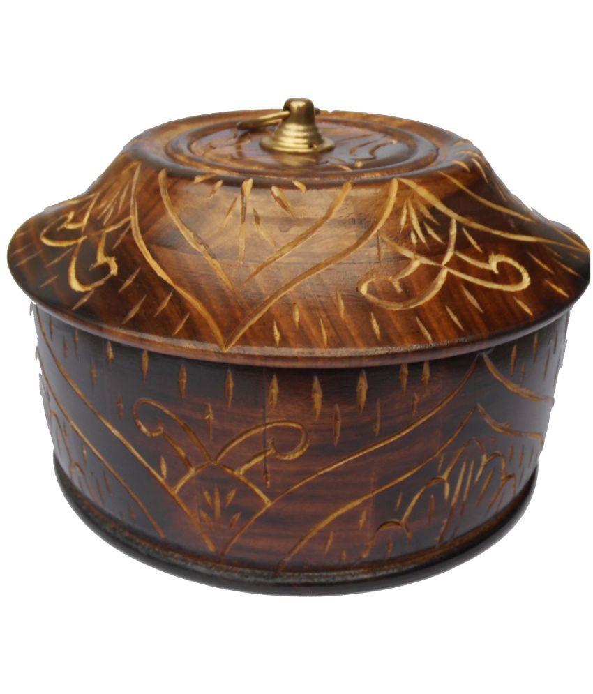 Handicraft Wooden Food Container Set of 1