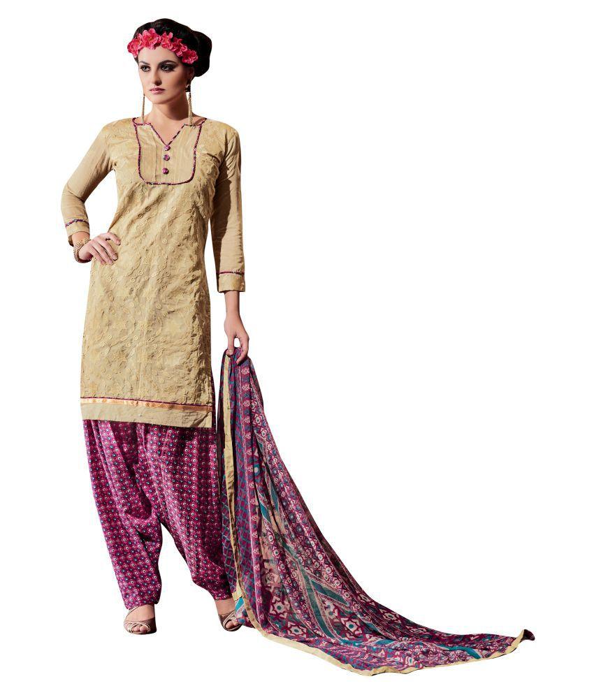 Kalish Brown Chanderi Dress Material