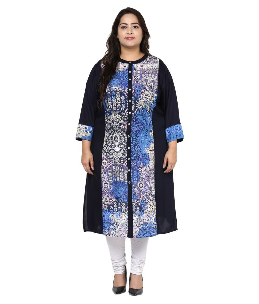 Pluss Multicoloured Viscose A-line Kurti