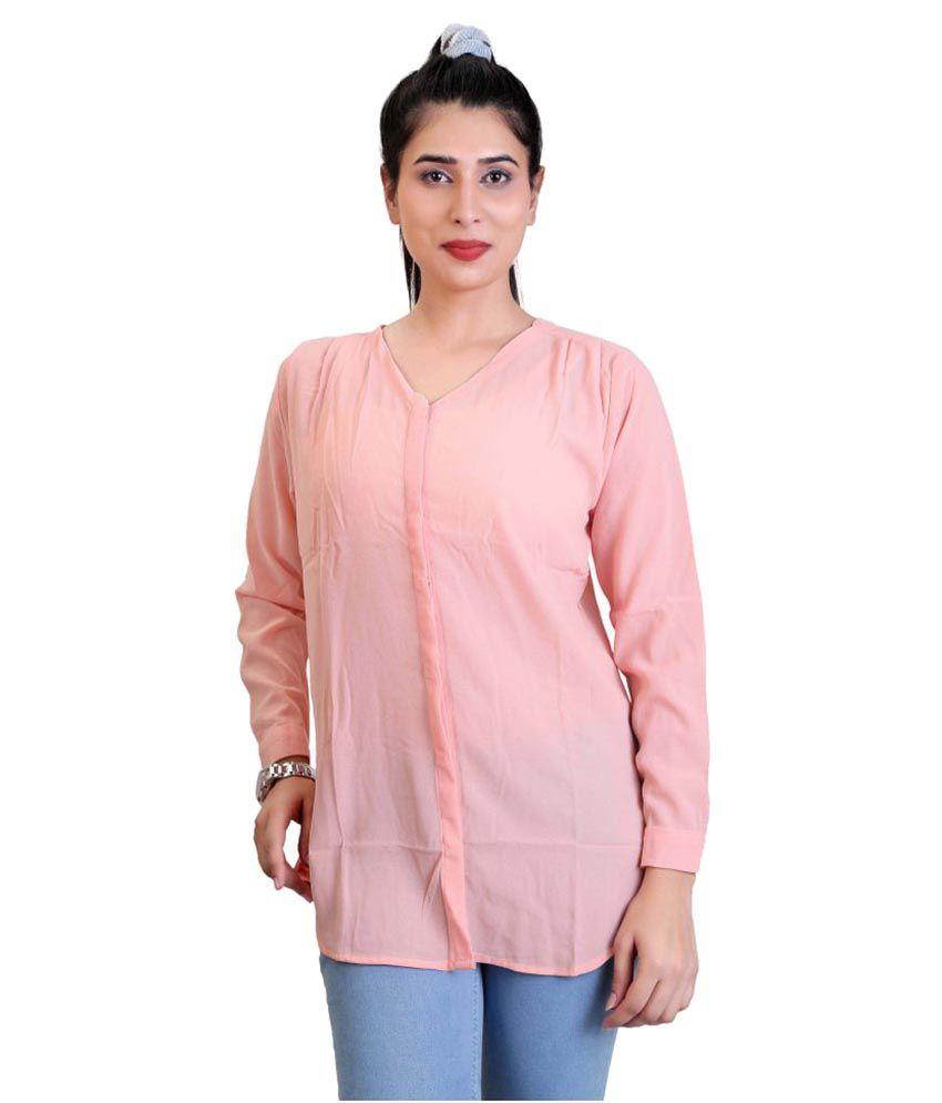Carrel Peach Poly Georgette Shirt