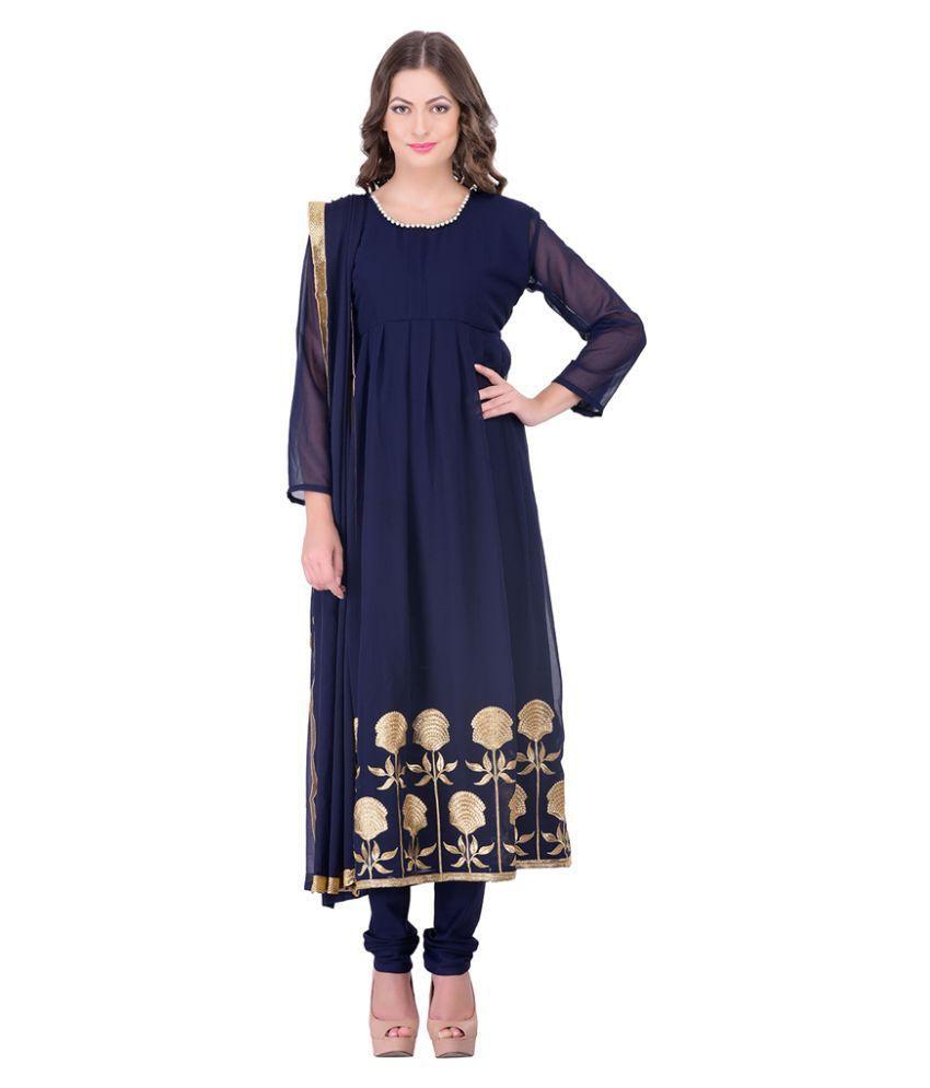 Parisha Navy Georgette Dress Material