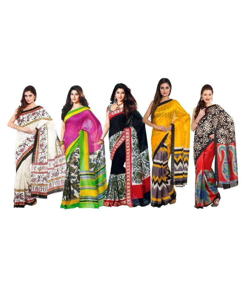 Rangkari Multicoloured Bhagalpuri Silk Saree Combos