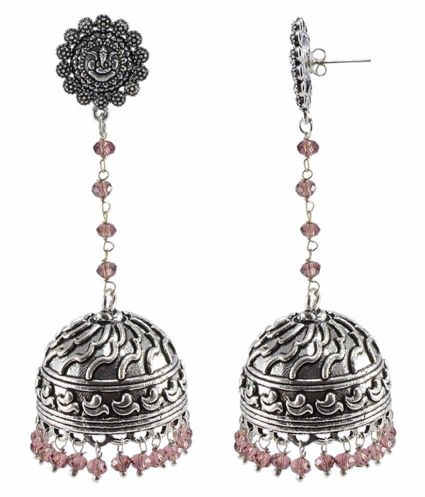 Silvesto India Amethyst Quartz New Latest Beautiful Fashion Jhumki Earring (925 Silver Plated)
