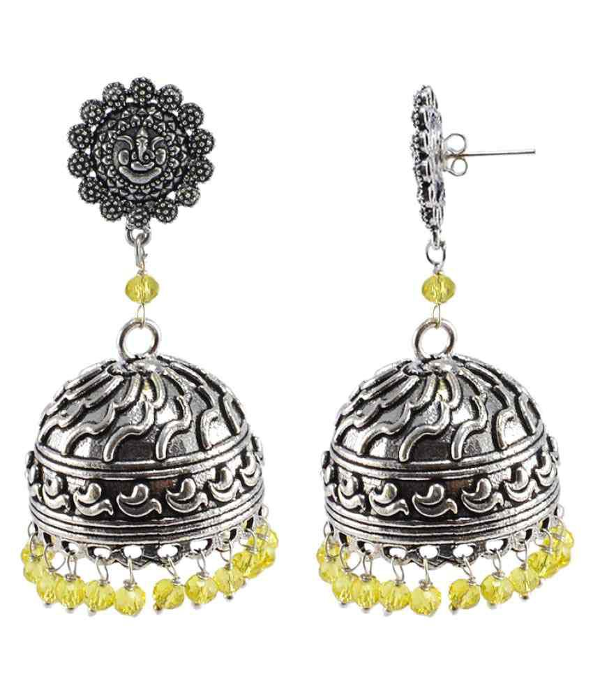 Silvesto India Silver Lemon Quartz 925 Silver Plated Fancy Jhumki Earrings