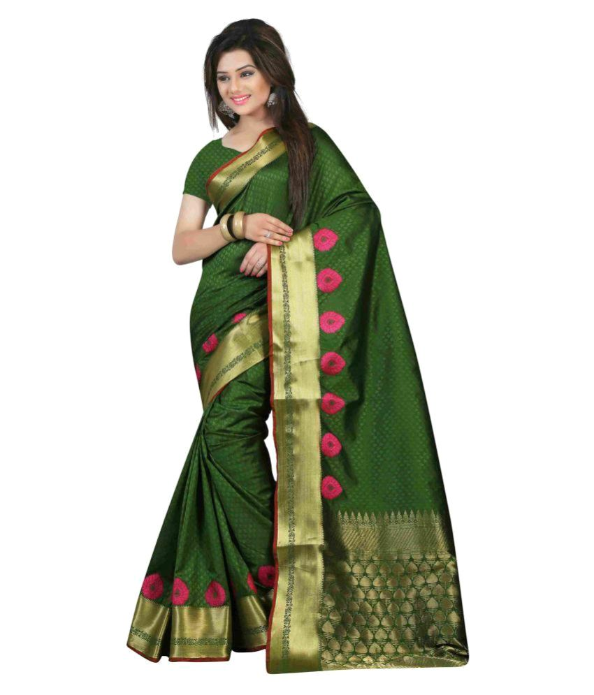Wing Deals Green Silk Saree
