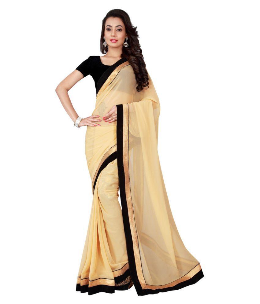 Brahmani Fabrics Beige Georgette Saree