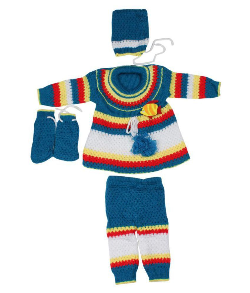 7d965033a Greentree Kids Winter Wear Woolen Suit Baby Girls Top   Bottom Set ...