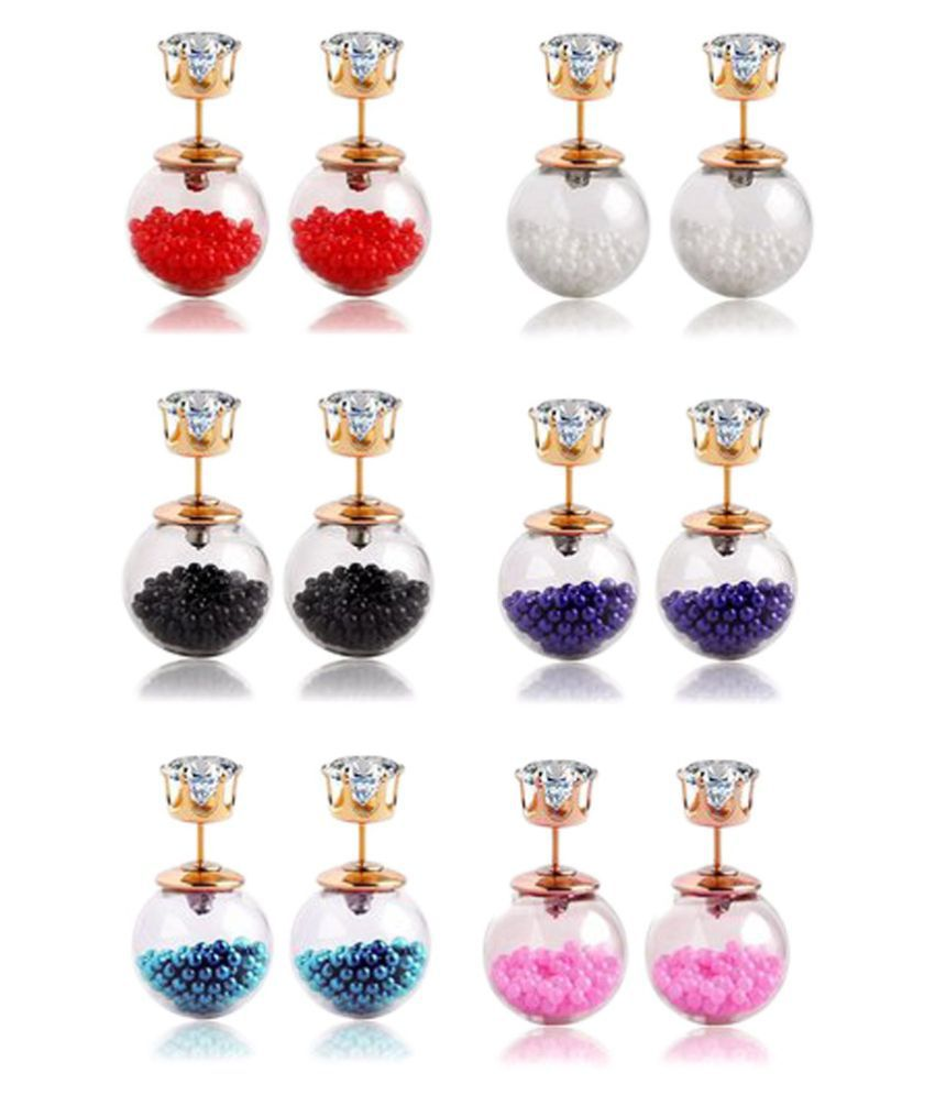 Youbella Jewellery Combo of Six Double Sided Earrings
