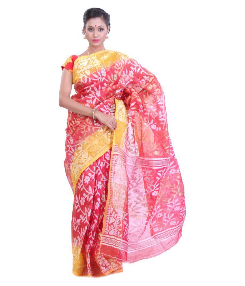 Sanrocks Global Fashions Red Jamdani Saree