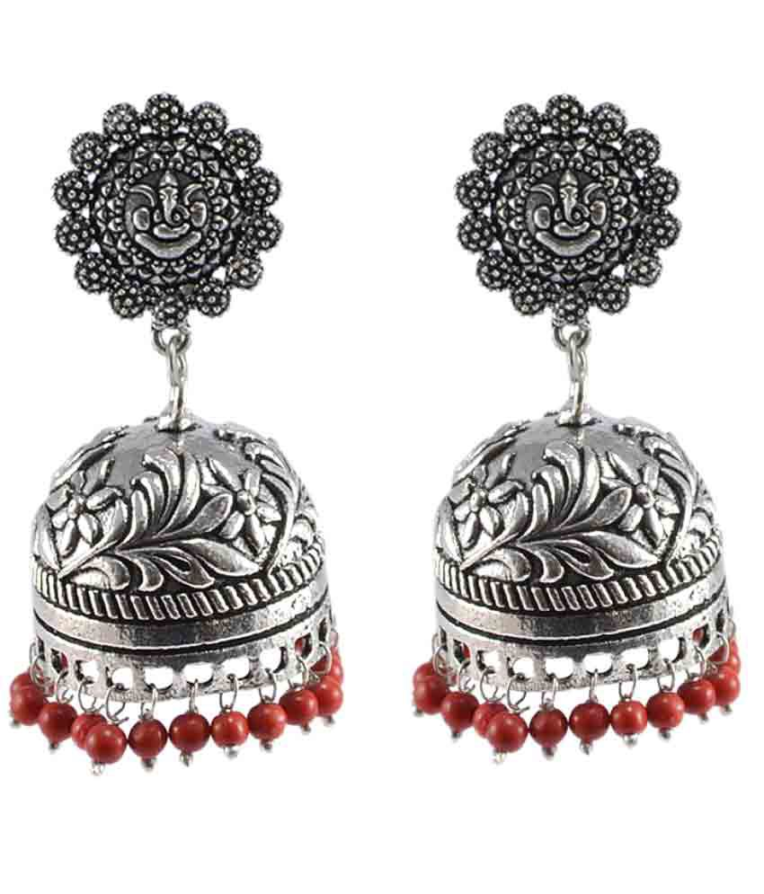 Silvesto India Red Coral Plane 925 Silver Plated Jhumki Jhumka Earrings