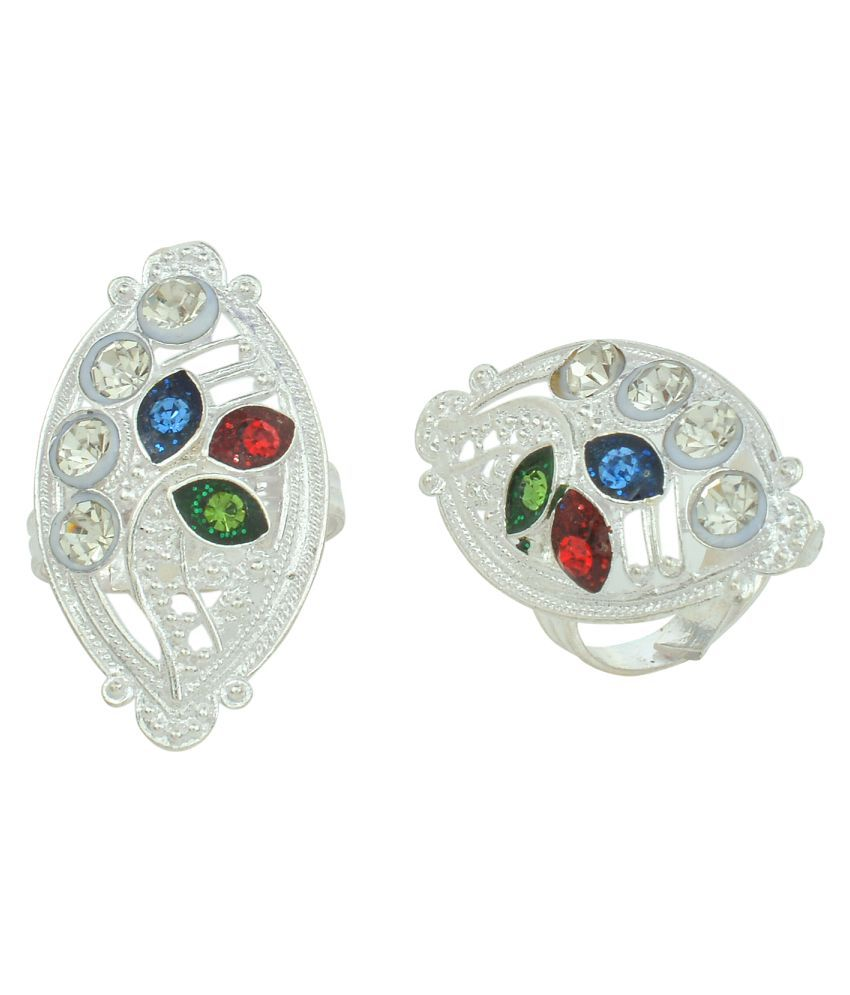 Memoir CZ Silver Plated Multicolor Stone Studded Marquise Shaped Long Toe Ring Jewellery For Women