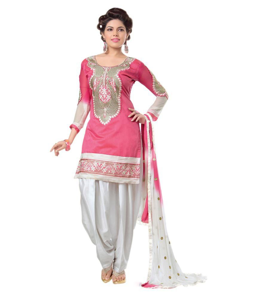 the fashion world pink chanderi unstitched dress material