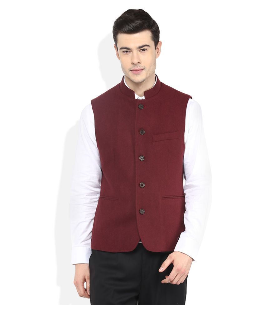 GIOVANI Red Solid Formal Waistcoats