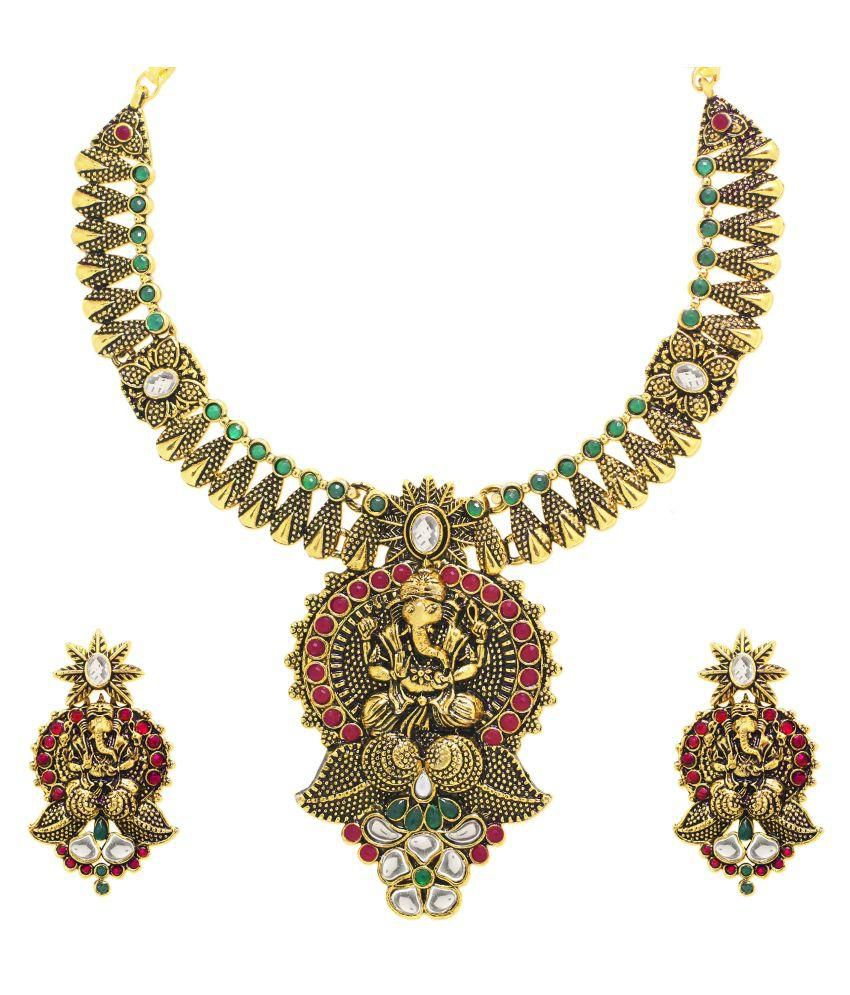 Zaveri Pearls Multicolour Antique Traditional Designer Necklace Set