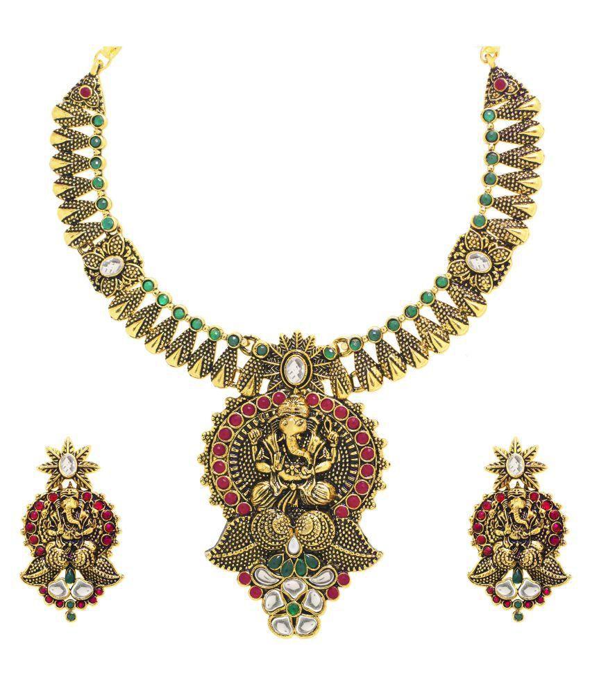 Zaveri Pearls Multicolour Antique Traditional Designer Necklace Set