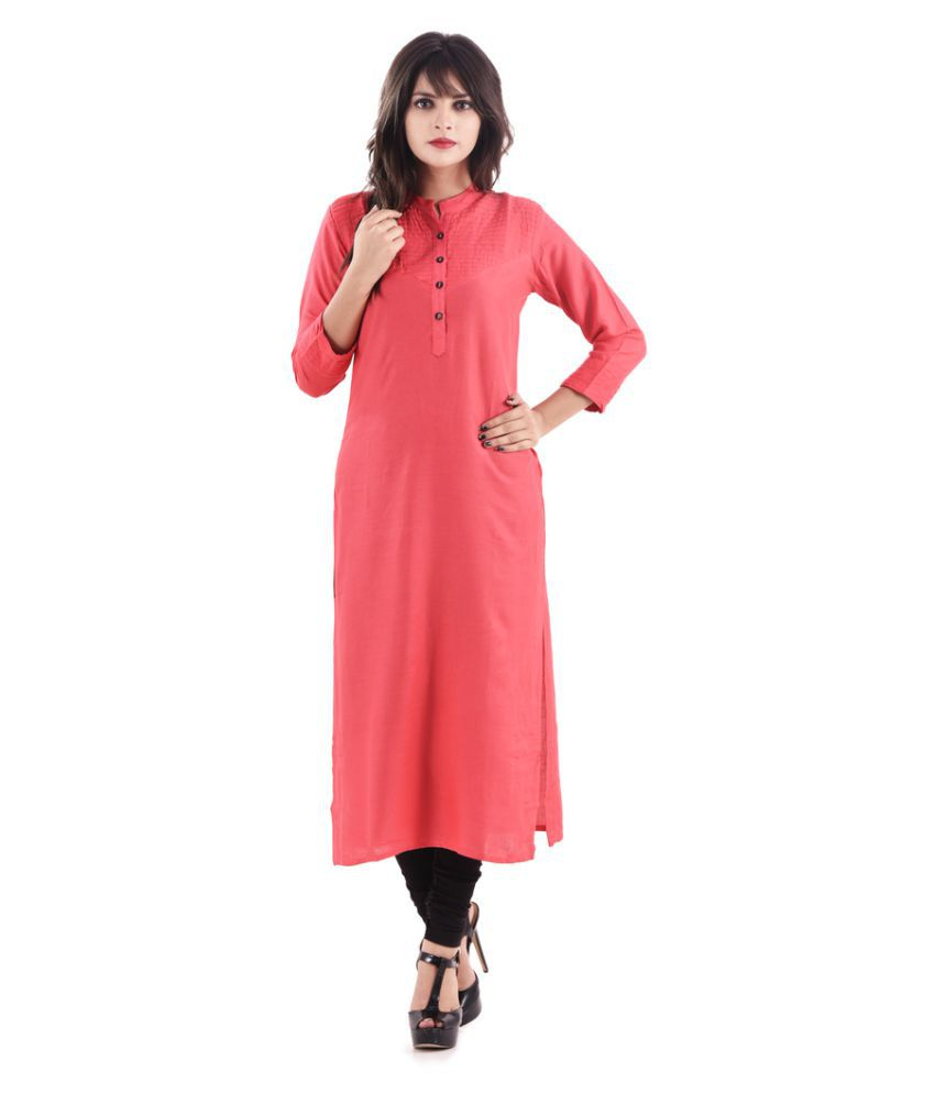 Hirshita Red Rayon Straight Kurti