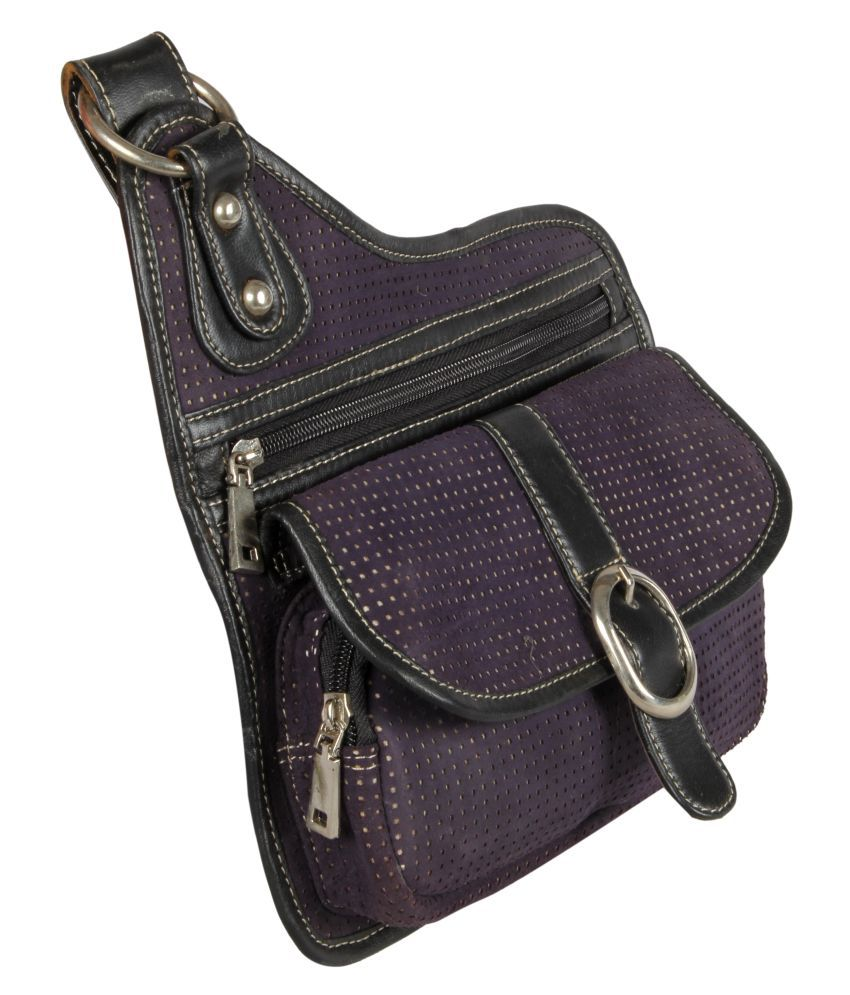 Xqzite Purple Pure Leather Sling Bag - Buy Xqzite Purple Pure ...