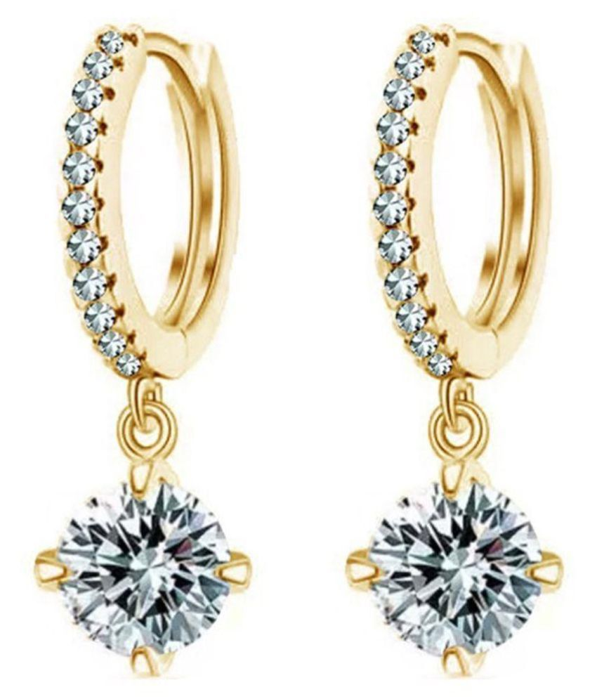 Shining Diva Fashion 18K Gold Plated Fancy Party Wear Austrian Crystal Bali Earrings for Girls