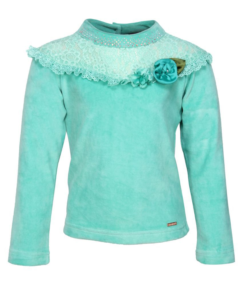 Cutecumber Green Velour Winter Top
